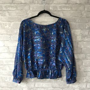 Free People royal blue gathered waist blouse